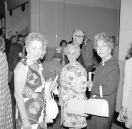 [Portrait of Garda Thather Cowan, Audrey Thather, Mrs. Edith Aetzel and Edna Stevens Enman at a S...