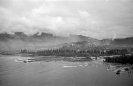 [View from the Lions Gate Bridge of the mouth and delta of the Capilano River]