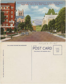 Burrard Street, showing St. Paul's Hospital, St. Andrews-Wesley Church, Marine Bldg., and C....