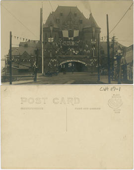 Canadian Pacific Railway Station at Hastings and Granville Street decorated for Duke of Connaught...