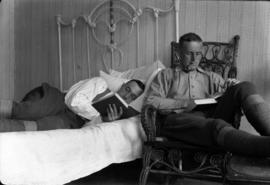 James Crookall and H.M. in hotel room]