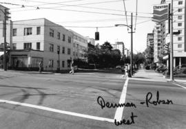 Denman and Robson [Streets looking] west