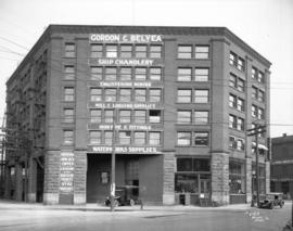 [Gordon and Belyea Ltd. wholesale hardware supplies building at the corner of Powell and Columbia...