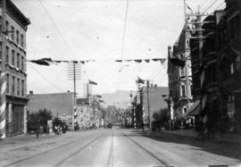 [Northern view of Granville from Dunsmuir Street during the visit of the Duke and Duchess of Corn...