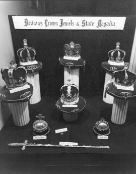 [Display of replicas of Britain's Crown Jewels and State Regalia]