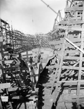Burrard Shipyard [showing] hull on ways [in drydock]