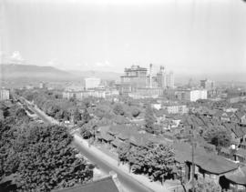 [View of downtown Vancouver looking northeast from the roof of the Baptist Church at Burrard and ...