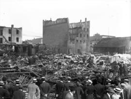 crowd at the site of Champion and White warehouse (935-941 Main Street) after destroyed by fire