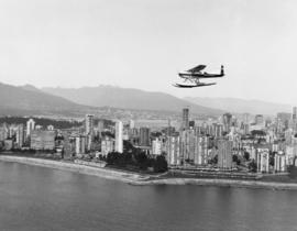 Aerial of Vancouver [English Bay beach and West End]