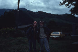 Unidentified man and woman in a mountainous area