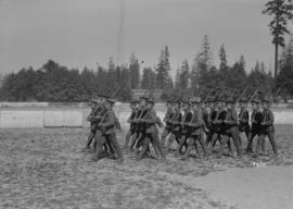 Military, Hastings Park - men with rifles marching in formation