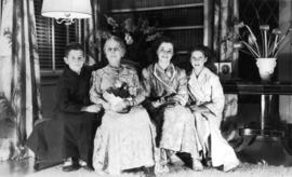 John Banfield, Harriet Banfield, Jane Banfield and Alix Louise Gordon in living room at 5575 Angu...