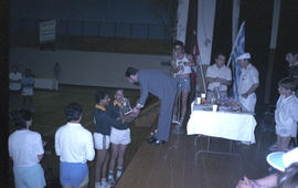 Winners receiving awards for sports competition