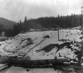Coquitlam Dam view of construction camp from east bank of river