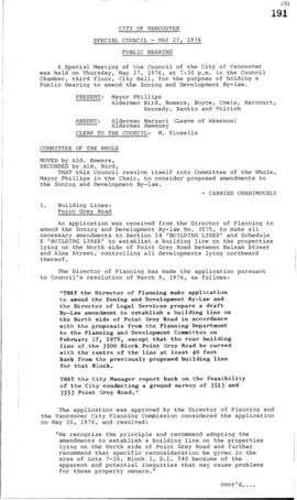 Special Council Meeting Minutes : May 27, 1976