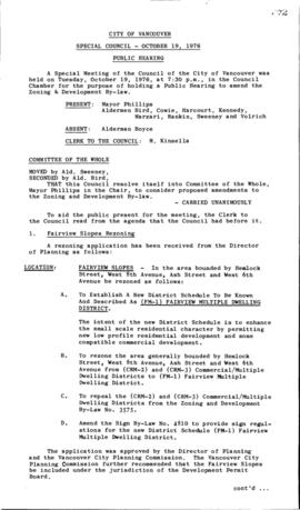 Special Council Meeting Minutes : Oct. 19, 1976