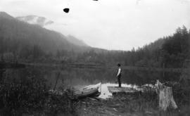[Man fishing from shore of Trout Lake, Harrison, B.C.]