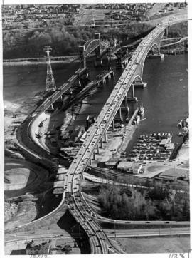 Aerial view of three bridges at Second Narrows