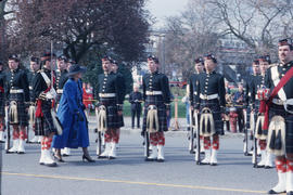 Jeanne Sauvé reviewing Guard of Honour by the Seaforth Regiment of Canada at Canadian Pacific Sta...