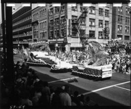 Seattle City Light and Seafair float in 1957 P.N.E. Opening Day Parade