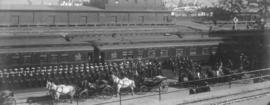 [Duke of Cornwall and York arriving in Vancouver at C.P.R. Station and the naval guard of honor a...