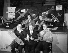 Group photograph in front of Connaught Model Aircraft Club exhibit