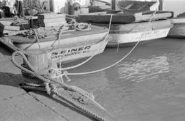 "[The sterns of the ""Seiner"" and ""Jennie Bay"" at dock]"