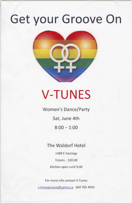 V-tunes women's dance/party : Saturday, June 4th : The Waldorf hotel