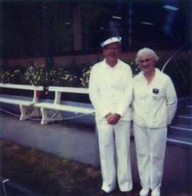 Les Chapman and May Barker at the Kerrisdale Lawn Bowling Club