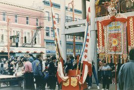 Crowd assembled in Chinatown during Chinese New Year celebration