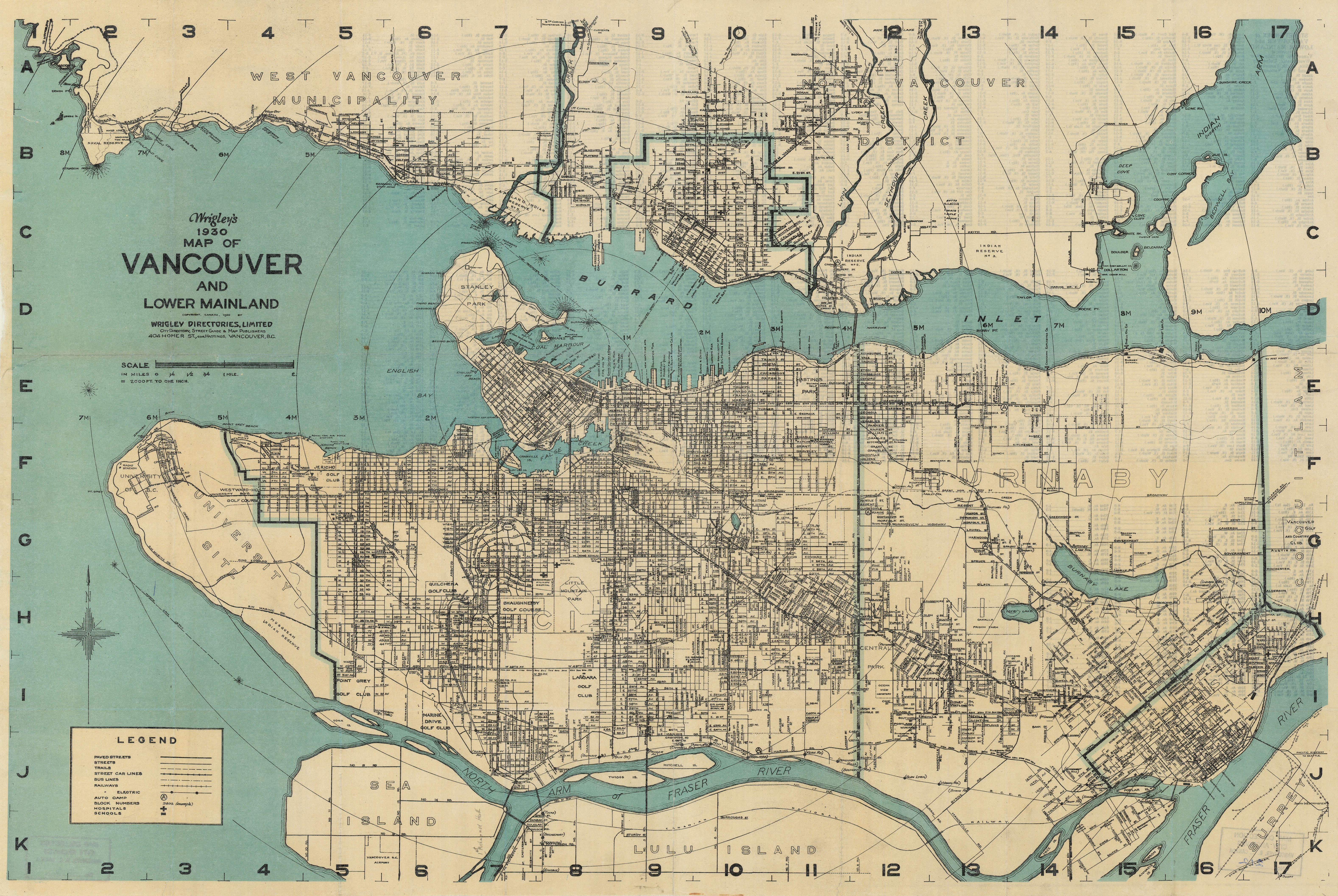 Wrigley S 1930 Map Of Vancouver And Lower Mainland City Of