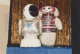 Expo Ernie with unidentified furry, pink and white robot mascot