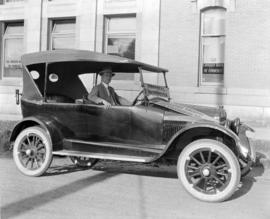 [Mr. Gomery seated in a Maxwell car, British Columbia pathfinding car for the Montreal to Vancouv...