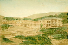[View of large buildings with gardens]