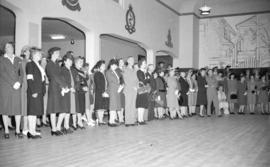 [People gathered for the opening of the Burrard servicemen's Centre, 636 Burrard Street]