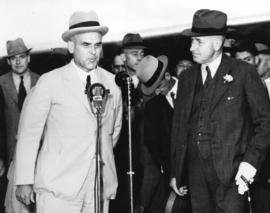 [C.D. Howe speaks during the arrival of the inaugural Trans-Canada Airlines flight between Montre...