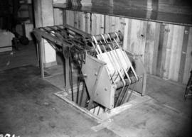 Conveyor belt, used to bring newspapers to the mailing room, on Vancouver News-Herald press]