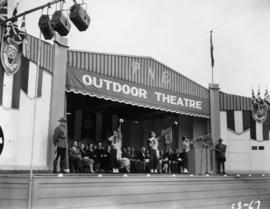 Trumpeters on Outdoor Theatre stage at 1953 P.N.E. opening ceremonies