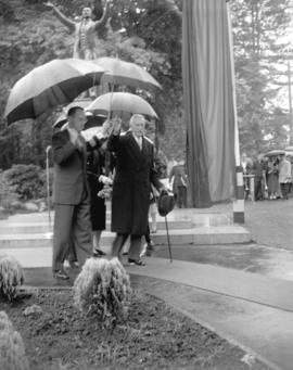 [R. Maitland, Park Board chairman and Governor General Georges Vanier departing after unveiling t...