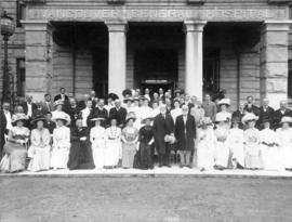 [Group portrait in entrance to Vancouver General Hospital for the visit of Lord Strathcona and Si...
