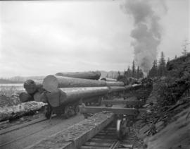[Engine being used to move logs for] Pacific Mills [on the] Queen Charlotte Islands