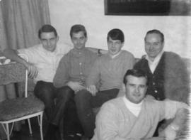 John Glassey [second from left] and Alf (foreground) [with group]