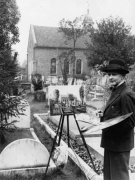 Watson Turnbull, R.A. painting picture of Petersham Churchyard and Capt. Vancouver's grave to be ...