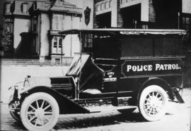 Police patrol vehicle at Cordova Street and Gore Avenue