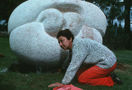 Olga Jancic next to her sculpture