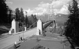 [View looking north of the sculptures at the south end of the Lions Gate Bridge]