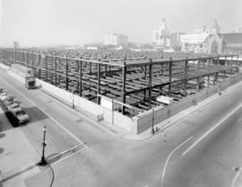 [The new Post Office building under construction from the corner of Dunsmuir and Hamilton Streets]