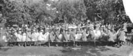 [Unidentified military men and women at a picnic]