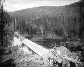 [Partially constructed Jordan River Power Plant, showing south end of Amburson type dam and spill...