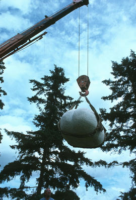 Olga Jancic's sculpture being hoisted